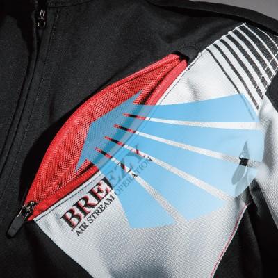 胸・肩・脇下・腕・背中には開閉可能なエアダクトを装備。